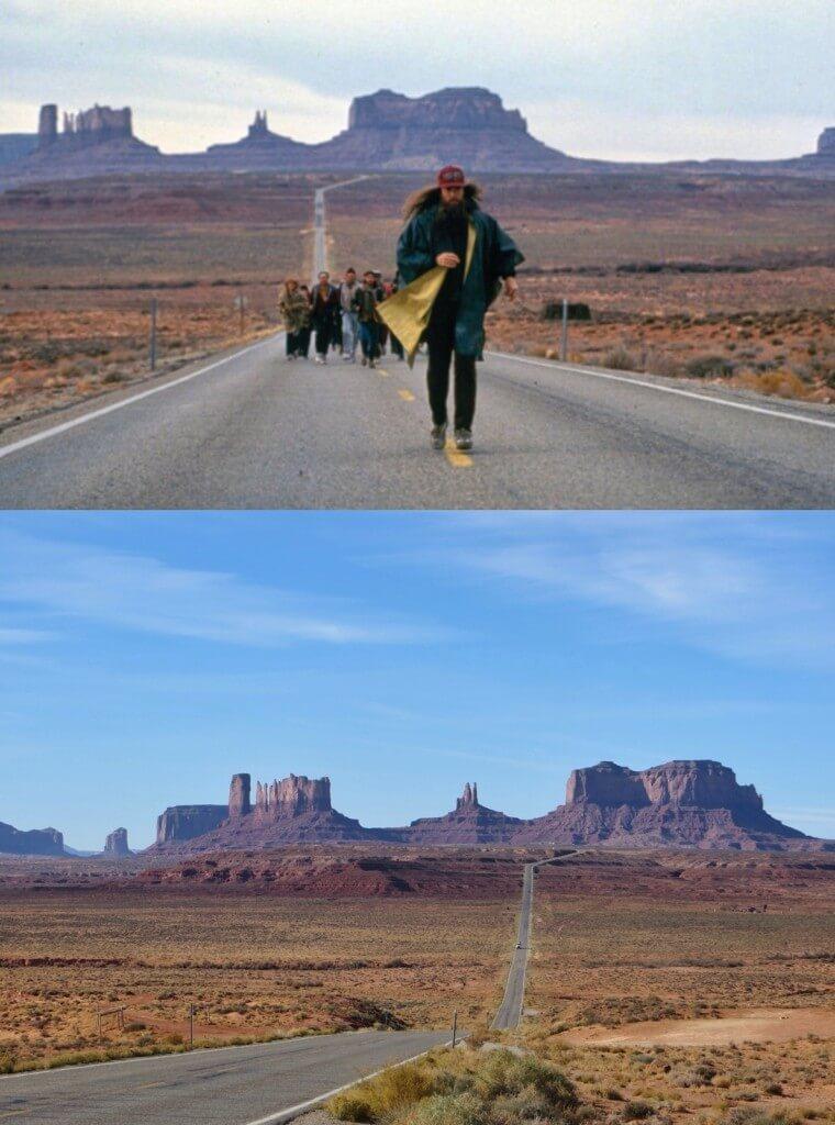 Katsoimme pitkästä aikaa Forrest Gumpin, ja siinähän olikin tuttu maisema retkemme alusta Arizonasta, Monument Valleysta.