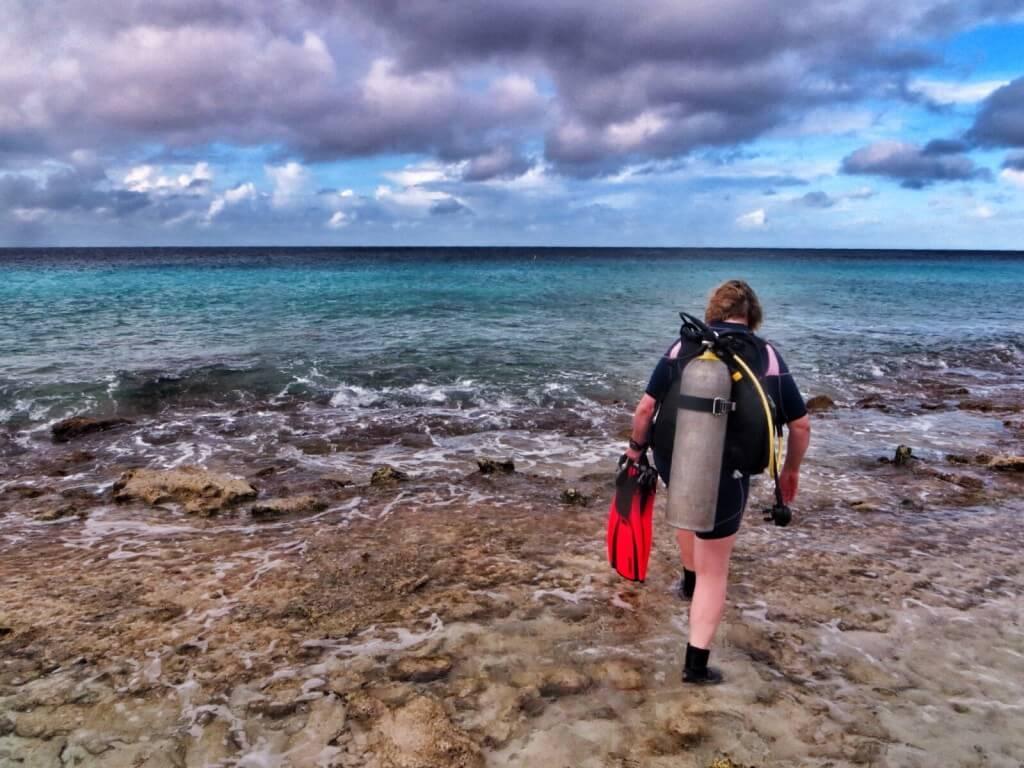 Curacaoon verrattuna sukeltamaan lähtö on hankalampaa. Bonairella ei juuri ole hienoja hiekkarantoja, vaan ranta on yleensä korallia ja korallilohkareita. Muutaman naarmun jälkeen opimme menemään ja tulemaan käsi kädessä.